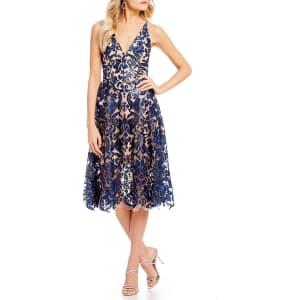 2f2ac4cc2b1 Dress the Population Blair Deep V-Neck Sequin Lace Midi Dress from ...
