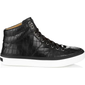 eda089d563d Belgravia Black Crocodile Embossed Leather Sneakers from Jimmy Choo.