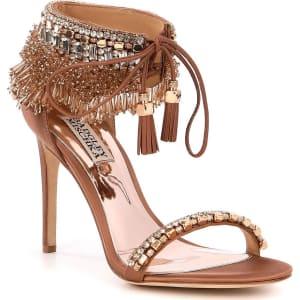 0b62f9a802 Badgley Mischka Katrina Jeweled Beaded Fringe Ankle Tie Dress ...