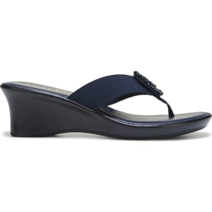 53046181801ba Italian Shoemakers Women s Isabella Wedge Sandals (Navy) from Famous ...