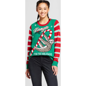 Sloth Christmas Sweater.Women S Hanging Fuzzy Sloth Ugly Christmas Sweater Green Xs