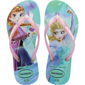 bf7599bdfd1 Havaianas Kids Slim Disney s Frozen Ana   Elsa Flip Flops Green Pink ...