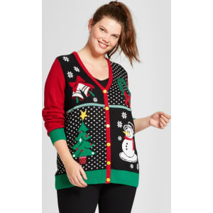 Plus Size Ugly Christmas Sweater.Women S Plus Size Santa V Neck Cardigan Ugly Christmas Sweater Black 1x