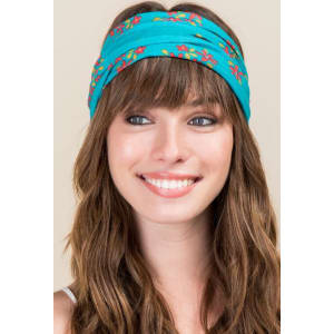 Half Boho Bandeau by Natural Life in Aqua Blossoms - Turquoise from ... d97ec2079f4