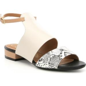 Fernanda Snake Print Banded Ankle Strap Block Heel Sandals