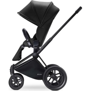 Cybex Priam Matte Black All Terrain Chassis With Luxury Seat Happy Black