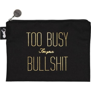 typo campus pencil case black gold too busy for bullshit from