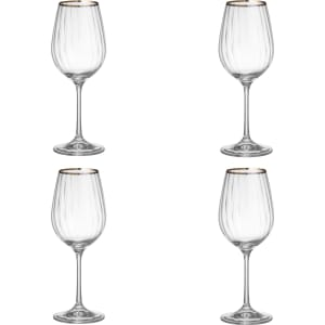 ddde01dc6b2e Croft Collection Oakham Platinum Band White Wine Glass, Set of 4 ...