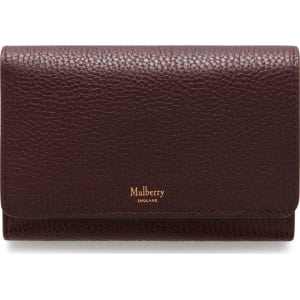 famous designer brand search for official shop best sellers Mulberry Medium Continental French Purse in Oxblood Natural Grain Leather