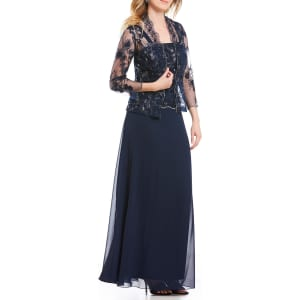 cc4f2523d6e5 Emma Street 2-Piece Metallic Lace Bodice Chiffon Jacket Dress from ...