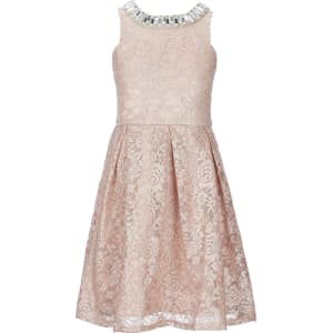 4575bc7f565d Rare Editions Big Girls 7-16 Metallic-Lace Fit-And-Flare Dress from ...