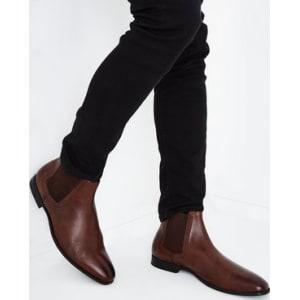 e96e5114cda Dark Brown Leather Brogue Trim Chelsea Boots New Look