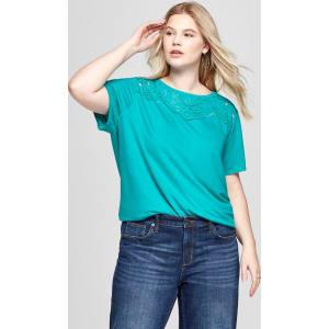 c01b51781da Women s Plus Size Short Sleeve Burnout T-Shirt - Ava   Viv Teal (Blue) 1x  from Target.