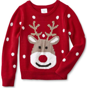 toughskins girls lighted christmas sweater reindeer size small red
