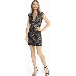 1ba26e8ef76 Women s Aidan Mattox Contrast Lace Cutout Back Sheath Dress by White ...