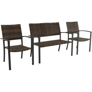 3pc All Weather Wicker Outdoor Patio Chat Set   Brown   Threshold
