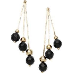14k Gold Earrings Faceted Onyx 3 Drop Earrings 9 Ct T W From