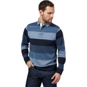 840e6f61045 Maine New England Big and Tall Blue Striped Print Rugby Shirt from ...