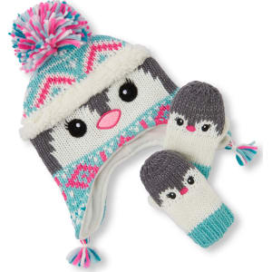 867868cd782 Baby Girls Toddler Sparkle Penguin Hat And Mittens Set - Green from ...