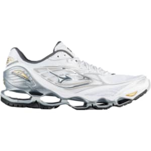 sports shoes b9461 835df ... Mizuno Wave Prophecy 6 - Mens - White Silver Gold ...