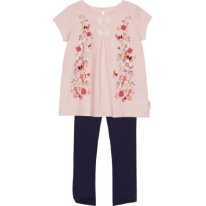 297a1d1cabc6d1 Baker by Ted Baker -  Girls  Light Pink Floral Print Top and Bottoms ...