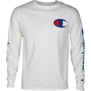 c47c1c60c78c Champion Graphic Long Sleeve T-Shirt - Mens - White/Blue/Red from ...