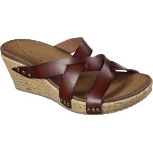 5d4a786e369f Skechers Women s Beverlee Cactus Flower Brown Wedge Slide Sandal ...