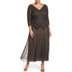 26758d20927 Plus Size Women s Pisarro Nights Beaded V-Neck Lace Illusion Gown ...