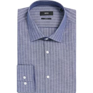 175530b69ef Hugo Boss Pinstripe Italian Cotton Linen Dress Shirt