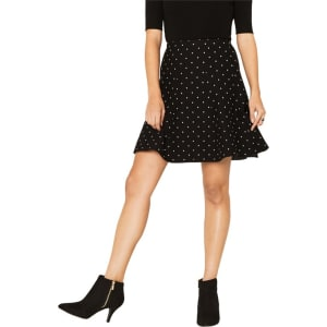 68a1e1488649 Oasis Black and White Spot Flippy Skirt from Debenhams.