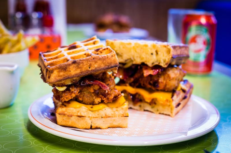 bird fried chicken waffle