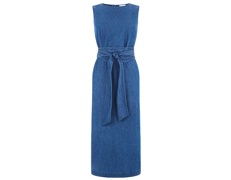 denim knot tie dress