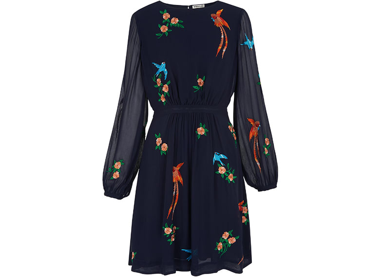 embroidered navy long sleeve dress