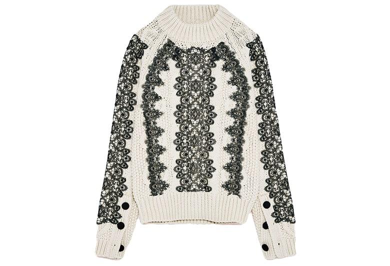 zara knit jumper monochrome