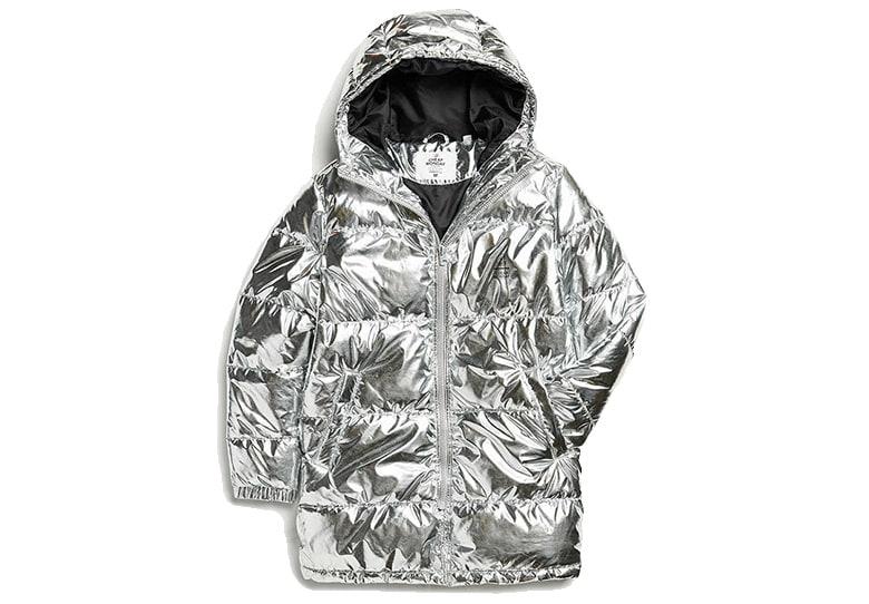 silver shiny puffer jacket hood