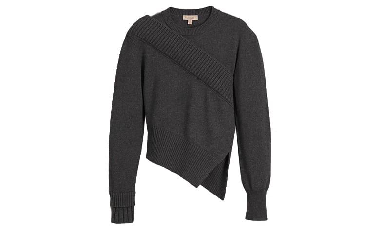 burberry asymmetrical grey knit jumper