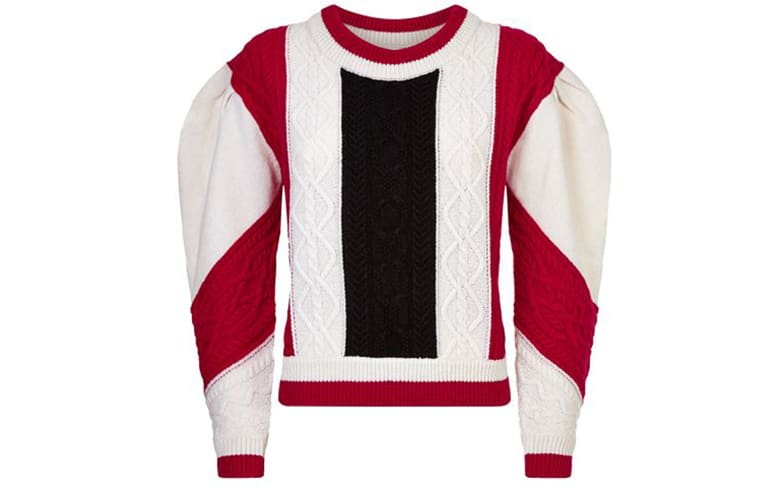 red white blue cable knit jumper claudie pierlot