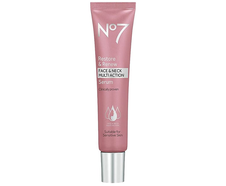 no 7 anti aging restore and renew face neck serum