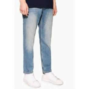 Mens Blue Mid Wash Rigid Tapered Jeans, Blue