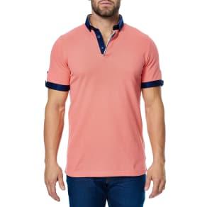 Men's Maceoo Contrast Pique Polo, Size 2(s) - Coral