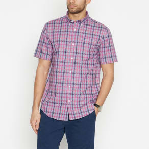 The Collection - Pink Jigsaw Weave Short Sleeve Tailored Fit Shirt