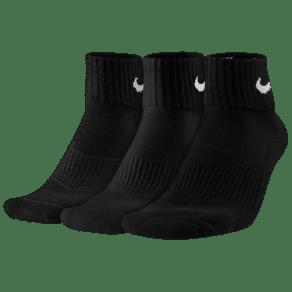 Nike 3 Pack Moisture MGT Cushion Quarter Socks - Mens - Black/White