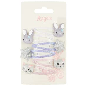 6x Cat & Bunny Character Hair Clips