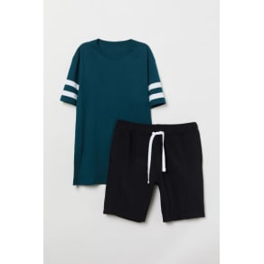 H & M - Pyjama T-shirt and shorts - Turquoise