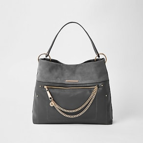 Womens Dark Grey zip front chain front slouch bag
