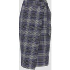 Reiss Josie Skirt - Checked Wrap Front Skirt in Blue Check, Womens, Size 10
