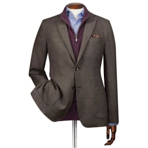 c625cc926355c Slim Fit Mocha Italian Wool Blazer Size 42 Regular by Charles Tyrwhitt