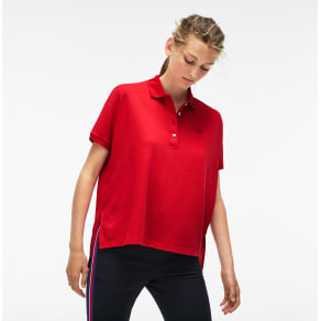 Women´s Lacoste Relax Fit Flowing Stretch Cotton Piqué Polo Shirt Size 4 - M Imperial Red