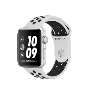 Apple Refurbished Apple Watch Series 3 GPS, 42mm Silver Aluminium Case - Pure Platinum/Black Nike Sport Band
