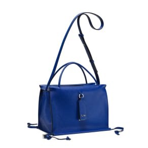 Stuart Weitzman Shopping Satchel Small, Blue Violet Caviar Leather